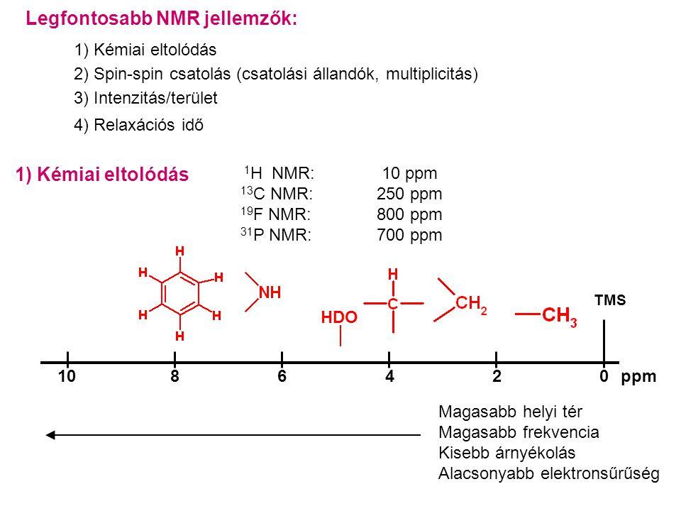 Legfontosabb NMR jellemzők: 1) Kémiai eltolódás 2) Spin-spin csatolás (csatolási állandók, multiplicitás) 3) Intenzitás/terület 4) Relaxációs idő 1) Kémiai eltolódás 1 H NMR: 10 ppm 13 C NMR: 250 ppm 19 F NMR: 800 ppm 31 P NMR: 700 ppm TMS 2046810ppm HDO Magasabb helyi tér Magasabb frekvencia Kisebb árnyékolás Alacsonyabb elektronsűrűség