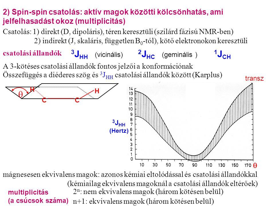 csatolási állandók 2 n : nem ekvivalens magok (három kötésen belül) 3 J HH 2 J HC (vicinális)(geminális ) A 3-kötéses csatolási állandók fontos jelzői a konformációnak Összefüggés a diéderes szög és 3 J HH csatolási állandók között (Karplus)  C C H H 3 J HH (Hertz)  transz 2) Spin-spin csatolás: aktív magok közötti kölcsönhatás, ami jelfelhasadást okoz (multiplicitás) Csatolás: 1) direkt (D, dipoláris), téren keresztüli (szilárd fázisú NMR-ben) 2) indirekt (J, skaláris, független B 0 -tól), kötő elektronokon keresztüli 1 J CH multiplicitás (a csúcsok száma) n+1: ekvivalens magok (három kötésen belül) mágnesesen ekvivalens magok: azonos kémiai eltolódással és csatolási állandókkal (kémiailag ekvivalens magoknál a csatolási állandók eltérőek)