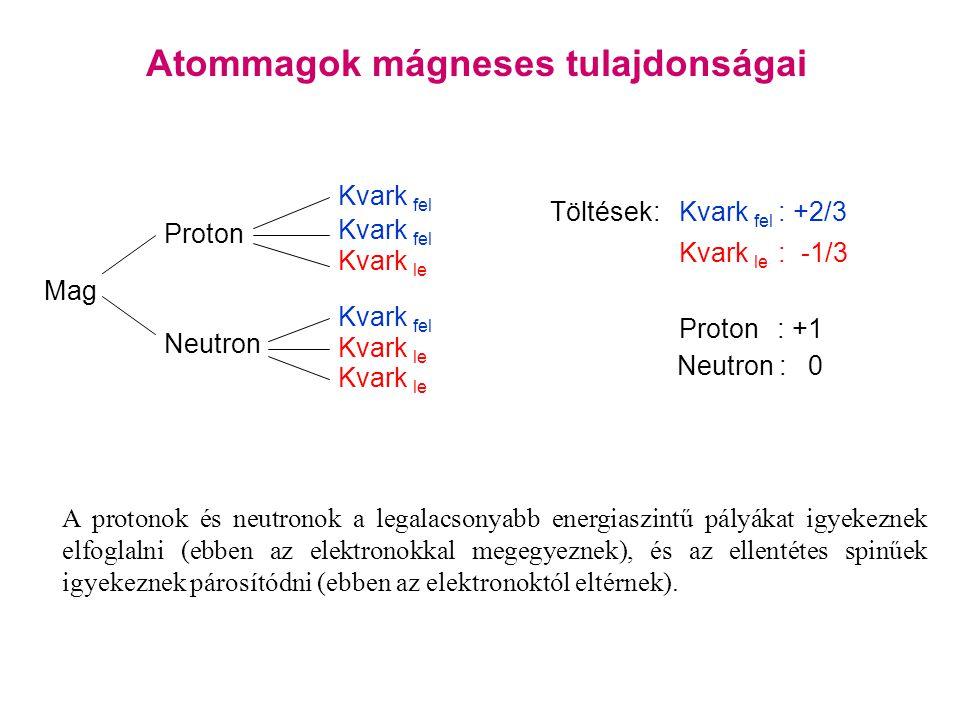 Atommagok mágneses tulajdonságai Mag Proton Neutron Kvark fel Kvark le Kvark fel Kvark le Töltések:Kvark fel : +2/3 Kvark le : -1/3 Proton : +1 Neutron : 0 A protonok és neutronok a legalacsonyabb energiaszintű pályákat igyekeznek elfoglalni (ebben az elektronokkal megegyeznek), és az ellentétes spinűek igyekeznek párosítódni (ebben az elektronoktól eltérnek).
