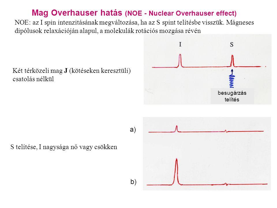 Mag Overhauser hatás (NOE - Nuclear Overhauser effect) a) b) besugárzás telítés NOE: az I spin intenzitásának megváltozása, ha az S spint telítésbe visszük.
