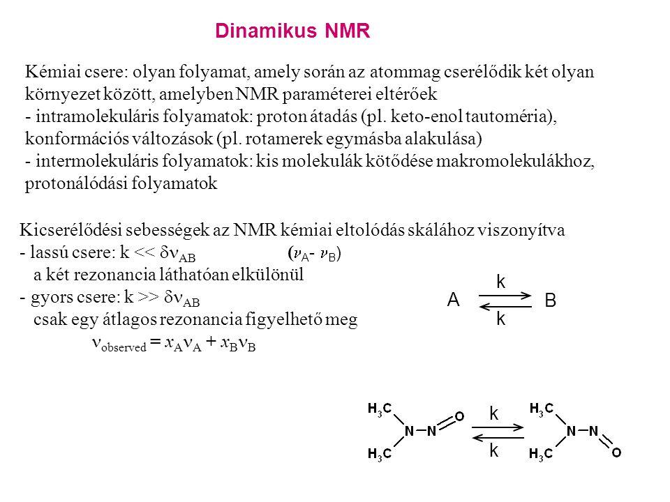 Dinamikus NMR Kémiai csere: olyan folyamat, amely során az atommag cserélődik két olyan környezet között, amelyben NMR paraméterei eltérőek - intramolekuláris folyamatok: proton átadás (pl.