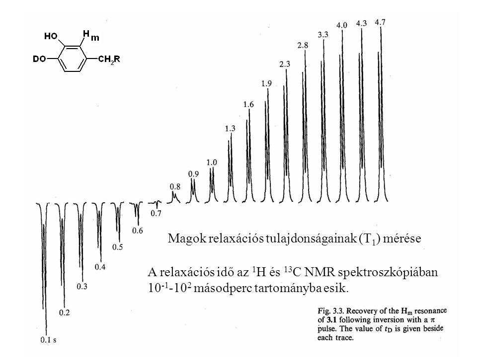 A relaxációs idő az 1 H és 13 C NMR spektroszkópiában 10 -1 -10 2 másodperc tartományba esik.