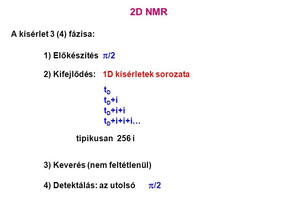 2D NMR A kísérlet 3 (4) fázisa: 1) Előkészítés  /2 2) Kifejlődés:1D kísérletek sorozata tDtD t D +i t D +i+i t D +i+i+i… tipikusan 256 i 3) Keverés (nem feltétlenül) 4) Detektálás: az utolsó  /2