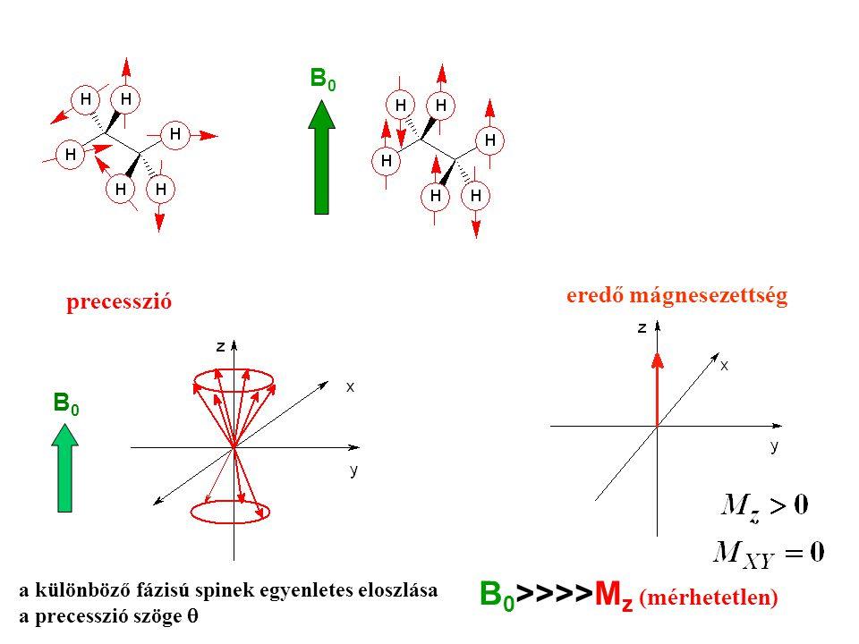 B0B0 B 0 >>>>M z (mérhetetlen) B0B0 eredő mágnesezettség a különböző fázisú spinek egyenletes eloszlása a precesszió szöge  precesszió