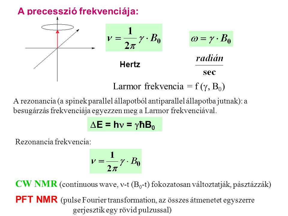A precesszió frekvenciája: Hertz Larmor frekvencia = f ( , B 0 ) A rezonancia (a spinek parallel állapotból antiparallel állapotba jutnak): a besugárzás frekvenciája egyezzen meg a Larmor frekvenciával.
