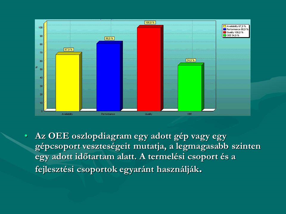 •Az OEE oszlopdiagram egy adott gép vagy egy gépcsoport veszteségeit mutatja, a legmagasabb szinten egy adott időtartam alatt. A termelési csoport és