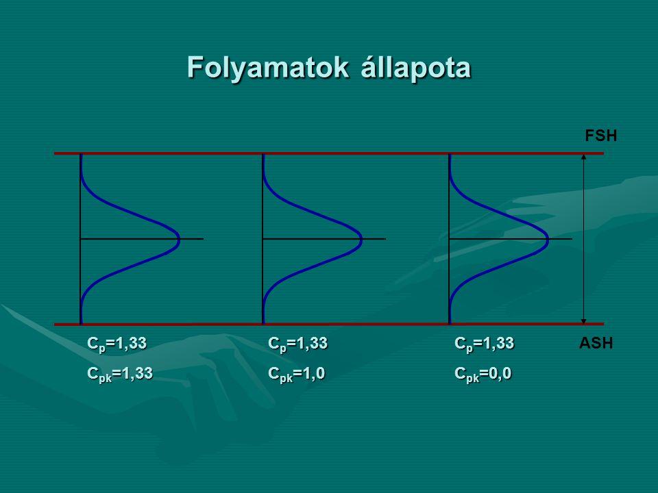 FSH ASH C p =1,33 C pk =1,0 C p =1,33 C pk =1,33 C p =1,33 C pk =0,0 Folyamatok állapota