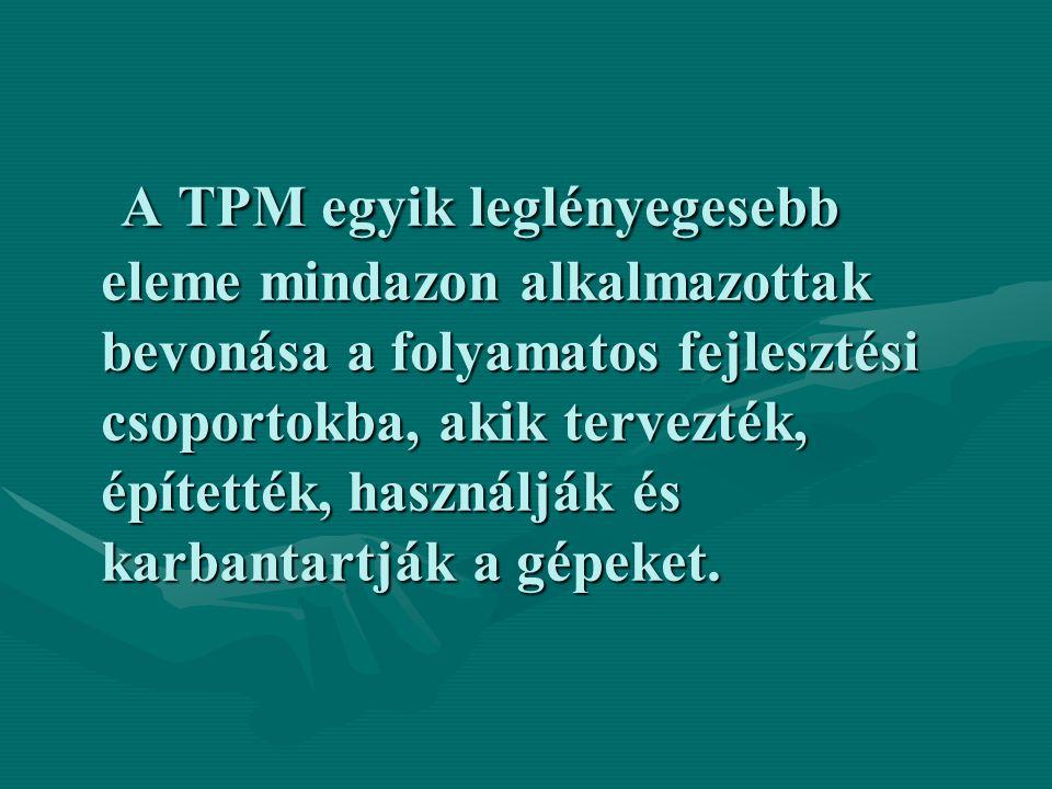 A TPM egyik leglényegesebb eleme mindazon alkalmazottak bevonása a folyamatos fejlesztési csoportokba, akik tervezték, építették, használják és karban