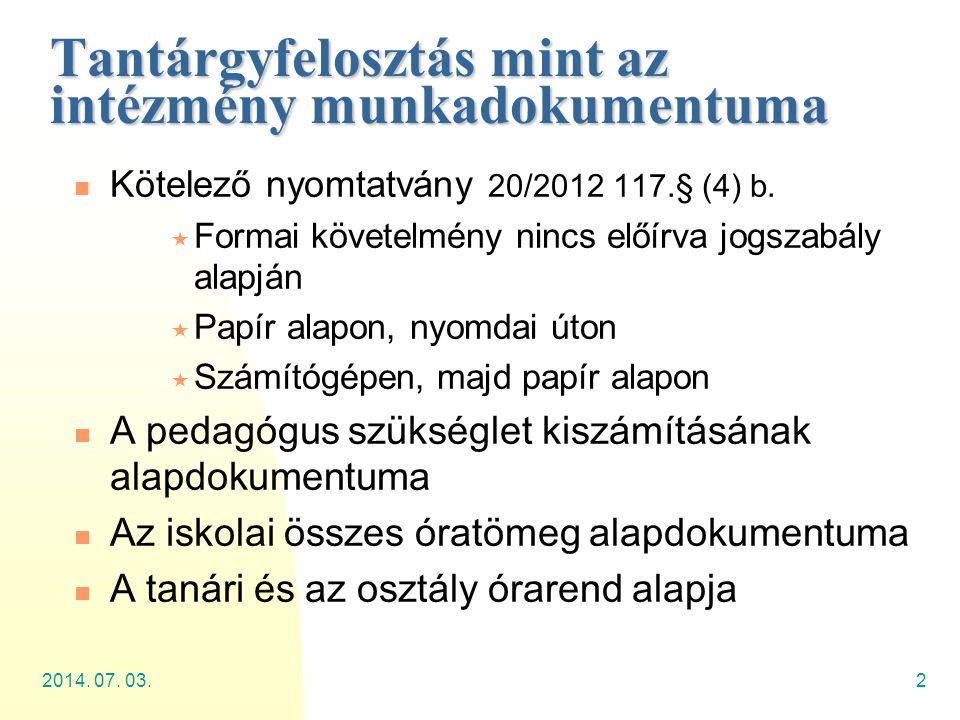 2014. 07. 03.2 Tantárgyfelosztás mint az intézmény munkadokumentuma  Kötelező nyomtatvány 20/2012 117.§ (4) b.  Formai követelmény nincs előírva jog