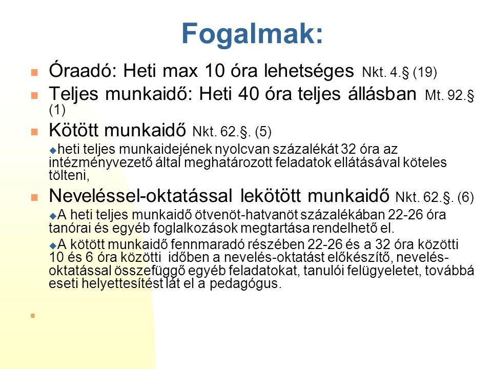 Fogalmak:  Óraadó: Heti max 10 óra lehetséges Nkt. 4.§ (19)  Teljes munkaidő: Heti 40 óra teljes állásban Mt. 92.§ (1)  Kötött munkaidő Nkt. 62.§.