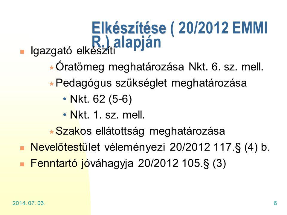 2014. 07. 03.6 Elkészítése Elkészítése ( 20/2012 EMMI R.) alapján  Igazgató elkészíti  Óratömeg meghatározása Nkt. 6. sz. mell.  Pedagógus szükségl