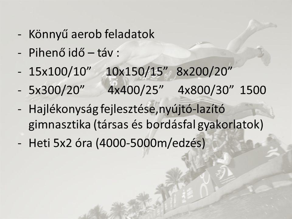 """-Könnyű aerob feladatok -Pihenő idő – táv : -15x100/10"""" 10x150/15"""" 8x200/20"""" -5x300/20"""" 4x400/25"""" 4x800/30"""" 1500 -Hajlékonyság fejlesztése,nyújtó-lazí"""