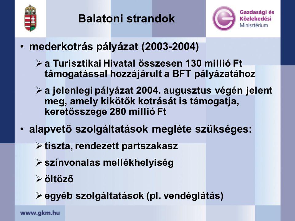 •mederkotrás pályázat (2003-2004)  a Turisztikai Hivatal összesen 130 millió Ft támogatással hozzájárult a BFT pályázatához  a jelenlegi pályázat 2004.