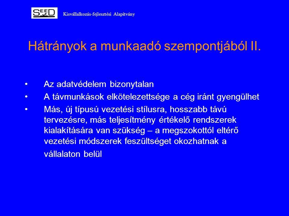 Kisvállalkozás-fejlesztési Alapítvány Hátrányok a munkaadó szempontjából II. •Az adatvédelem bizonytalan •A távmunkások elkötelezettsége a cég iránt g