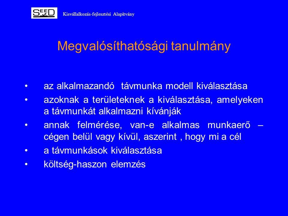 Kisvállalkozás-fejlesztési Alapítvány Megvalósíthatósági tanulmány •az alkalmazandó távmunka modell kiválasztása •azoknak a területeknek a kiválasztás
