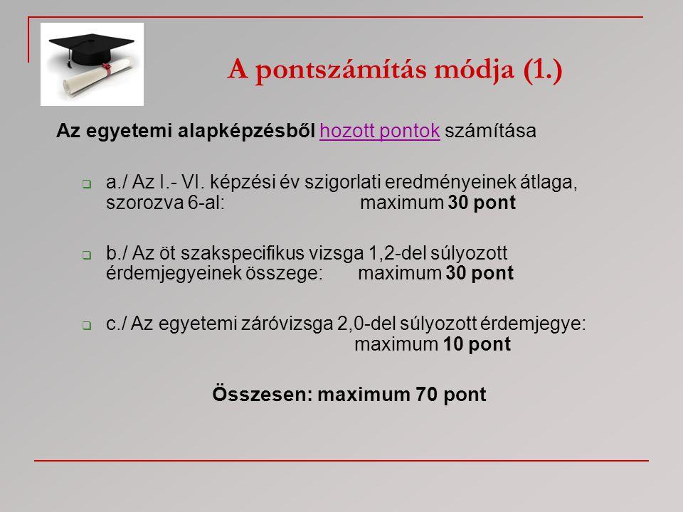 Az egyetemi alapképzésből hozott pontok számítása  a./ Az I.- VI. képzési év szigorlati eredményeinek átlaga, szorozva 6-al: maximum 30 pont  b./ Az