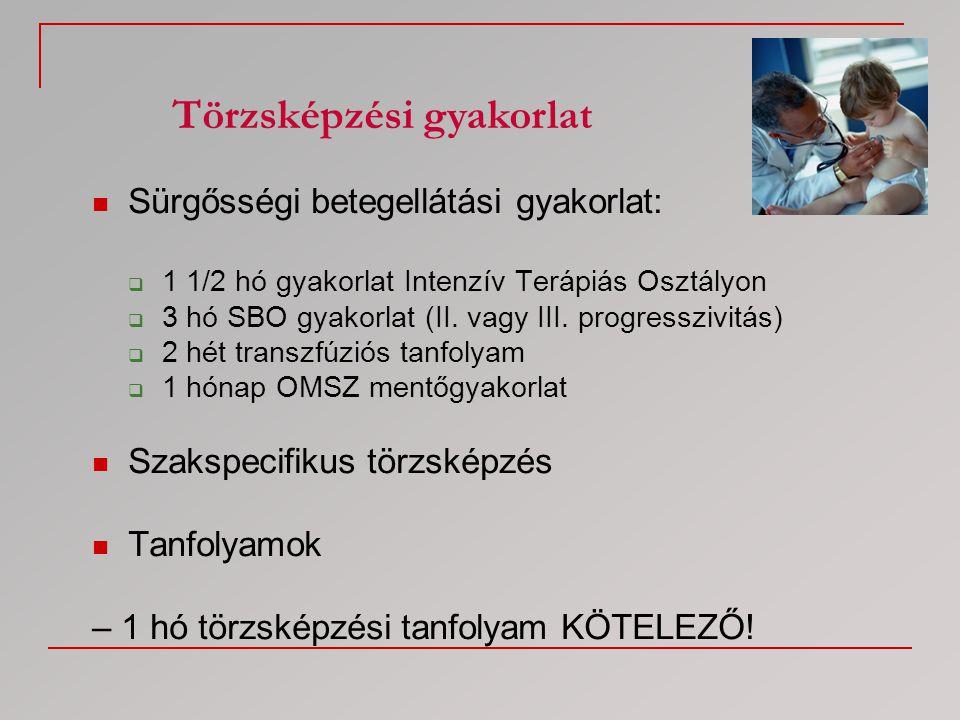  Sürgősségi betegellátási gyakorlat:  1 1/2 hó gyakorlat Intenzív Terápiás Osztályon  3 hó SBO gyakorlat (II. vagy III. progresszivitás)  2 hét tr