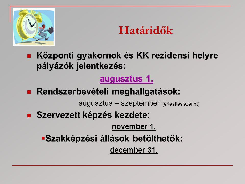  Központi gyakornok és KK rezidensi helyre pályázók jelentkezés: augusztus 1.  Rendszerbevételi meghallgatások: augusztus – szeptember (értesítés sz