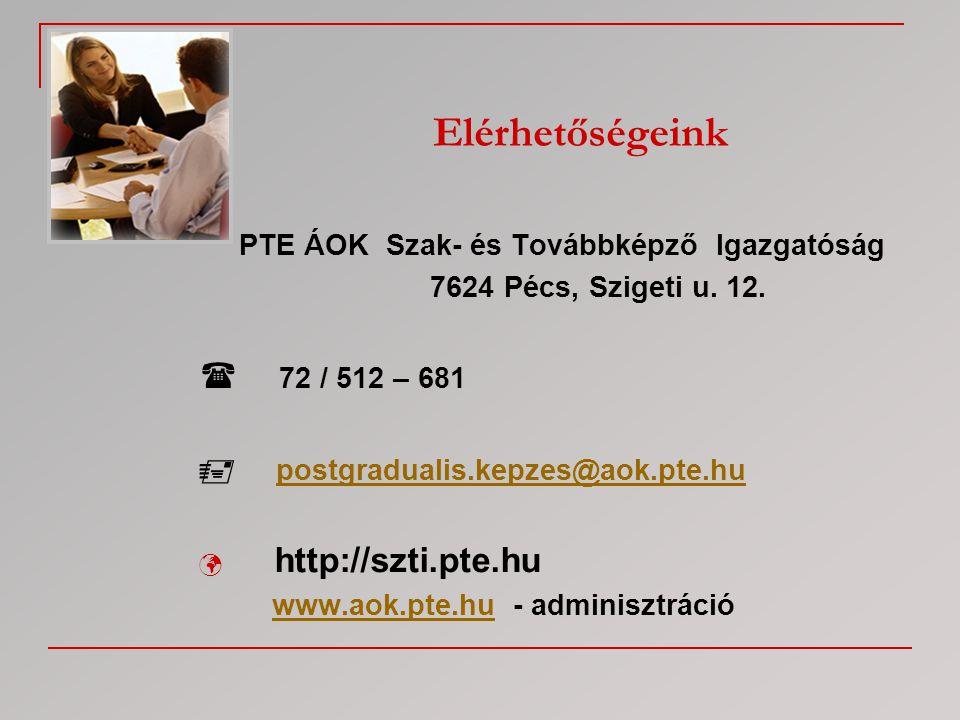 Elérhetőségeink PTE ÁOK Szak- és Továbbképző Igazgatóság 7624 Pécs, Szigeti u. 12.  72 / 512 – 681  postgradualis.kepzes@aok.pte.hupostgradualis.kep