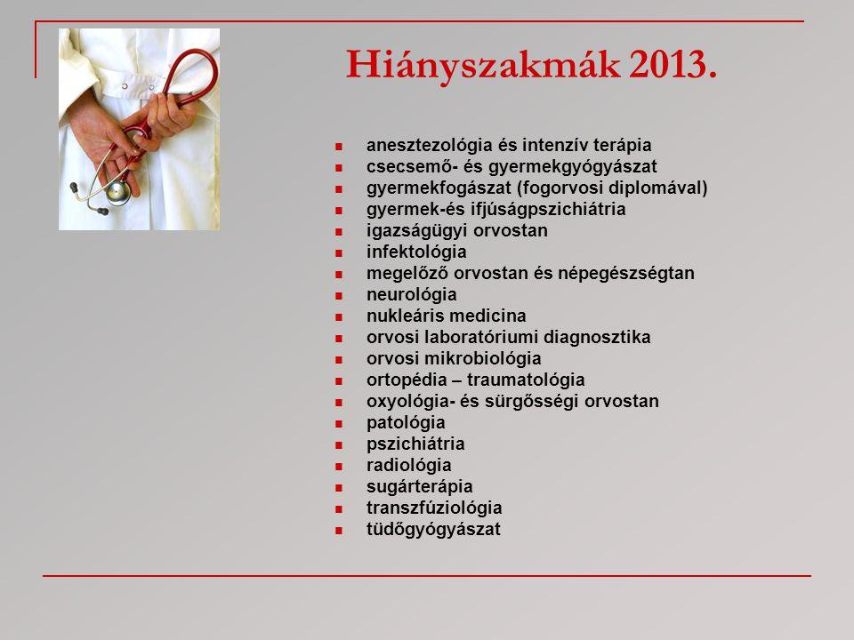 Hiányszakmák 2013.  anesztezológia és intenzív terápia  csecsemő- és gyermekgyógyászat  gyermekfogászat (fogorvosi diplomával)  gyermek-és ifjúság