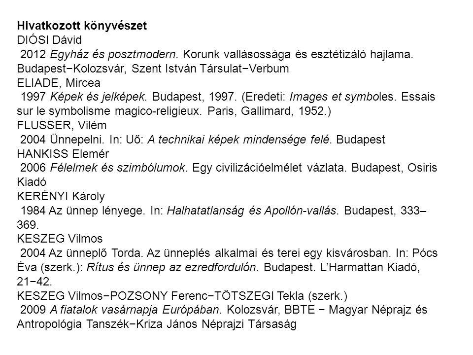 Hivatkozott könyvészet DIÓSI Dávid 2012 Egyház és posztmodern.