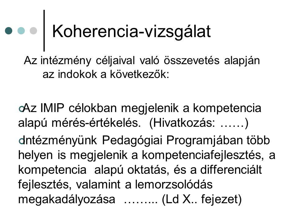 Koherencia-vizsgálat Az intézmény céljaival való összevetés alapján az indokok a következők: Az IMIP célokban megjelenik a kompetencia alapú mérés-értékelés.