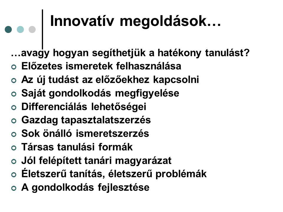 Innovatív megoldások… …avagy hogyan segíthetjük a hatékony tanulást.