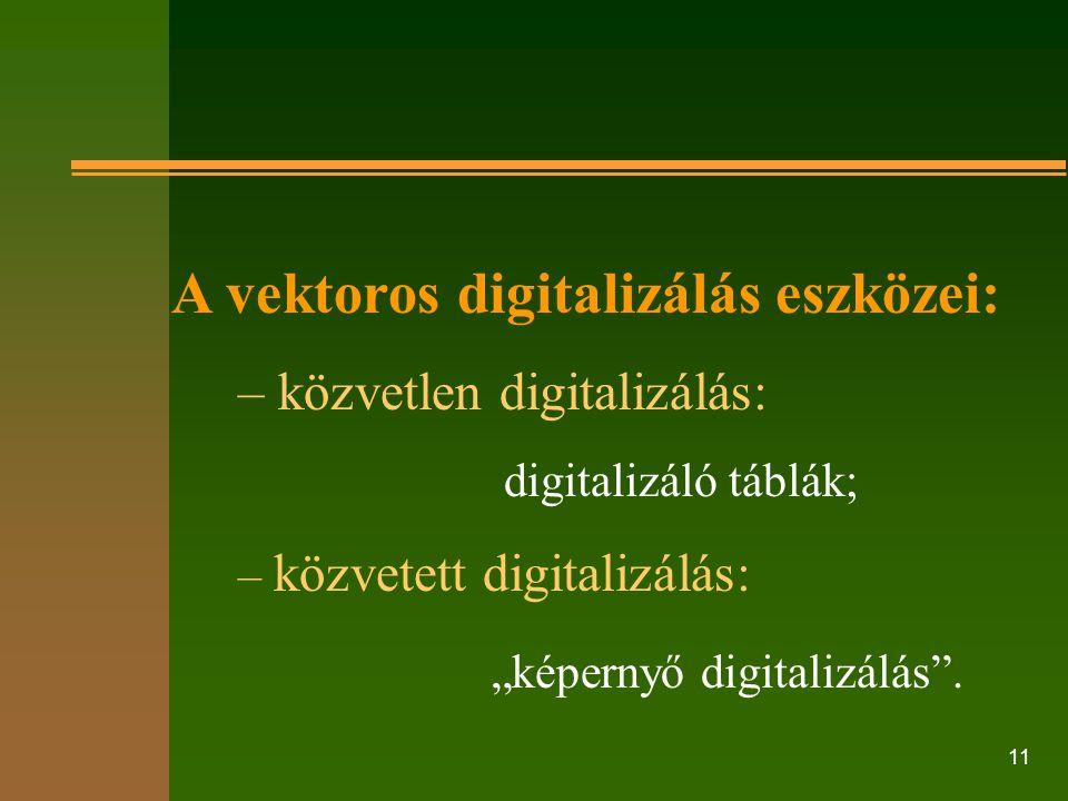 """11 A vektoros digitalizálás eszközei: – közvetlen digitalizálás: digitalizáló táblák; – közvetett digitalizálás: """"képernyő digitalizálás""""."""