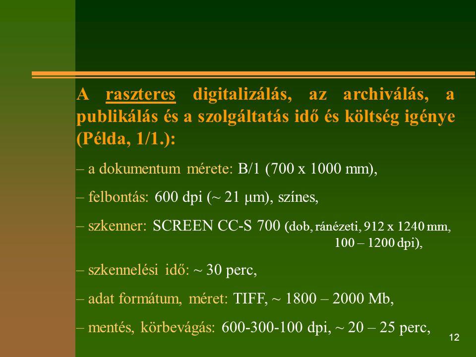 12 A raszteres digitalizálás, az archiválás, a publikálás és a szolgáltatás idő és költség igénye (Példa, 1/1.): – a dokumentum mérete: B/1 (700 x 100