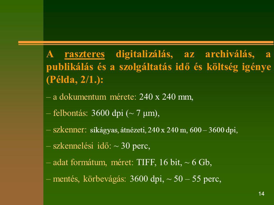 14 A raszteres digitalizálás, az archiválás, a publikálás és a szolgáltatás idő és költség igénye (Példa, 2/1.): – a dokumentum mérete: 240 x 240 mm,