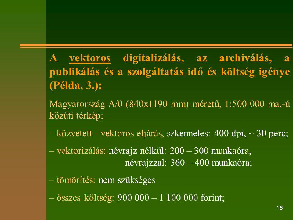 16 A vektoros digitalizálás, az archiválás, a publikálás és a szolgáltatás idő és költség igénye (Példa, 3.): Magyarország A/0 (840x1190 mm) méretű, 1