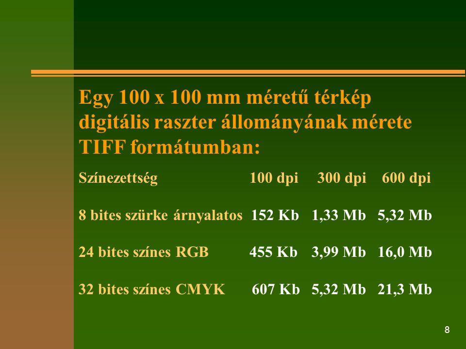 8 Egy 100 x 100 mm méretű térkép digitális raszter állományának mérete TIFF formátumban: Színezettség 100 dpi 300 dpi 600 dpi 8 bites szürke árnyalato