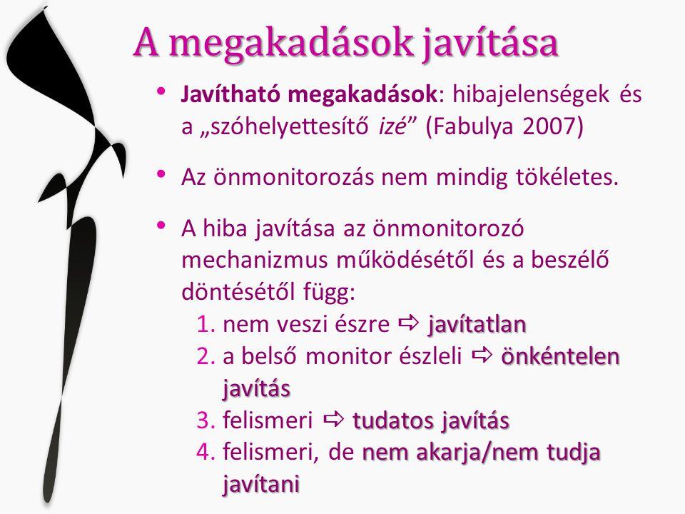 """A megakadások javítása • Javítható megakadások: hibajelenségek és a """"szóhelyettesítő izé"""" (Fabulya 2007) • Az önmonitorozás nem mindig tökéletes. • A"""