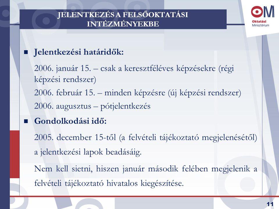 11 JELENTKEZÉS A FELSŐOKTATÁSI INTÉZMÉNYEKBE n Jelentkezési határidők: 2006.