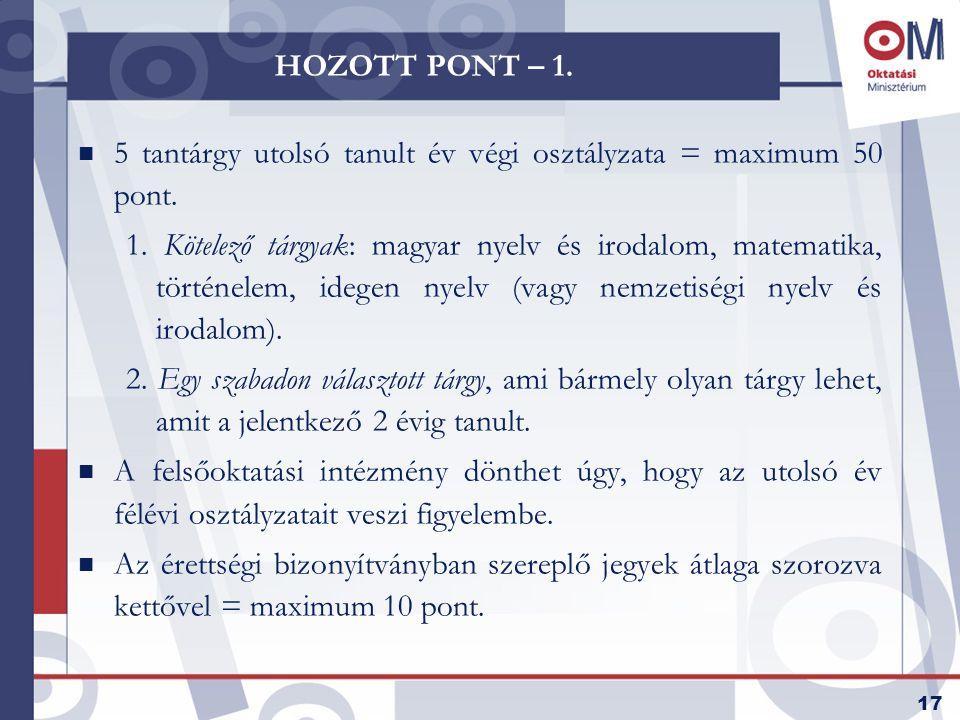 17 HOZOTT PONT – 1. n 5 tantárgy utolsó tanult év végi osztályzata = maximum 50 pont.