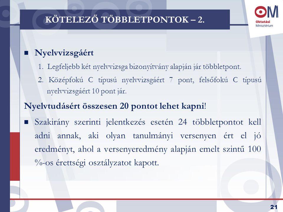 21 KÖTELEZŐ TÖBBLETPONTOK – 2. n Nyelvvizsgáért 1.