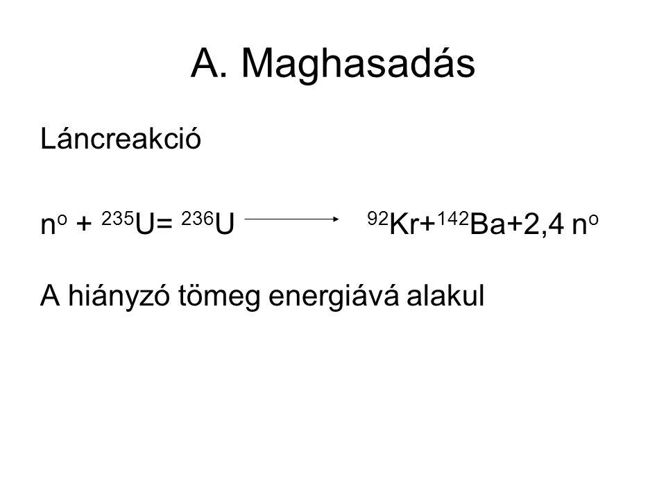 A. Maghasadás Láncreakció n o + 235 U= 236 U 92 Kr+ 142 Ba+2,4 n o A hiányzó tömeg energiává alakul
