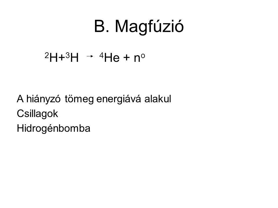 B. Magfúzió 2 H+ 3 H 4 He + n o A hiányzó tömeg energiává alakul Csillagok Hidrogénbomba