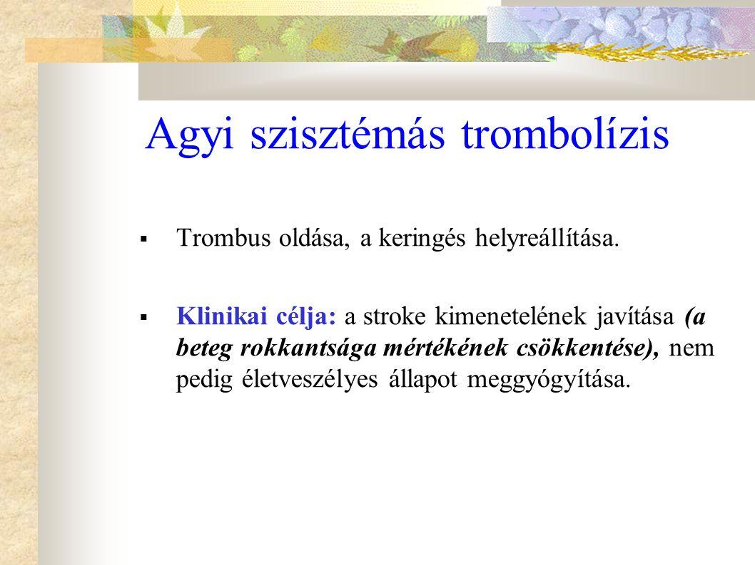 Agyi szisztémás trombolízis  Trombus oldása, a keringés helyreállítása.  Klinikai célja: a stroke kimenetelének javítása (a beteg rokkantsága mérték