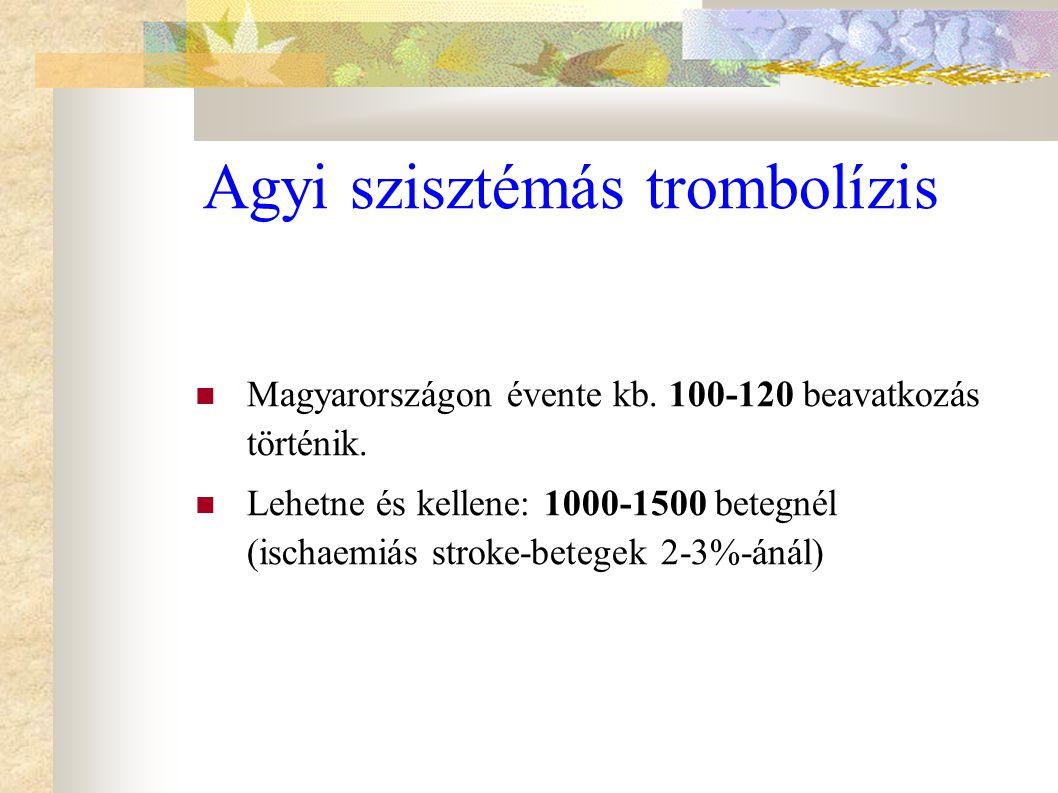  Magyarországon évente kb. 100-120 beavatkozás történik.  Lehetne és kellene: 1000-1500 betegnél (ischaemiás stroke-betegek 2-3%-ánál) Agyi szisztém