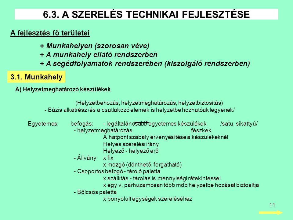 11 A) Helyzetmeghatározó készülékek (Helyzetbehozás, helyzetmeghatározás, helyzetbiztosítás) - Bázis alkatrész /és a csatlakozó elemek is helyzetbe hozhatóak legyenek/ Egyetemes: befogás: - legáltalánosabb egyetemes készülékek /satu, sikattyú/ - helyzetmeghatározás fészkek A hatpont szabály érvényesítése a készülékeknél Helyes szerelési irány Helyező - helyező erő - Állványx fix x mozgó (dönthető, forgatható) - Csoportos befogó - tároló paletta x szállítás - tárolás is mennyiségi rátekintéssel x egy v.