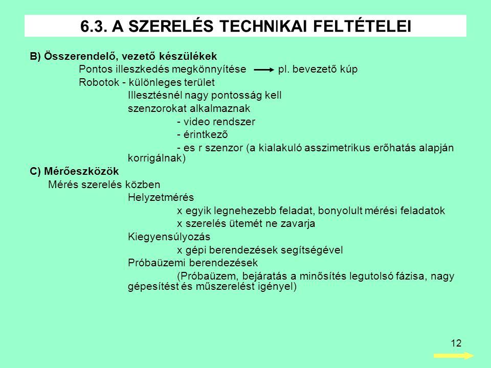 12 B) Összerendelő, vezető készülékek Pontos illeszkedés megkönnyítése pl.