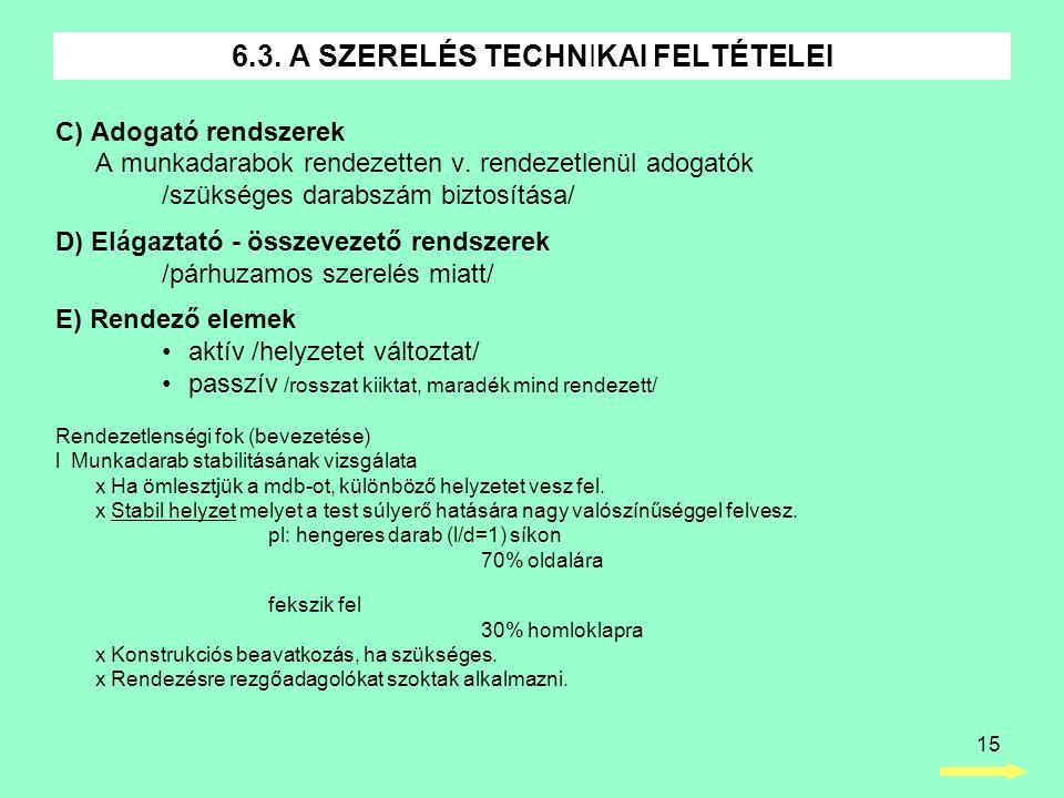 15 C) Adogató rendszerek A munkadarabok rendezetten v. rendezetlenül adogatók /szükséges darabszám biztosítása/ D) Elágaztató - összevezető rendszerek