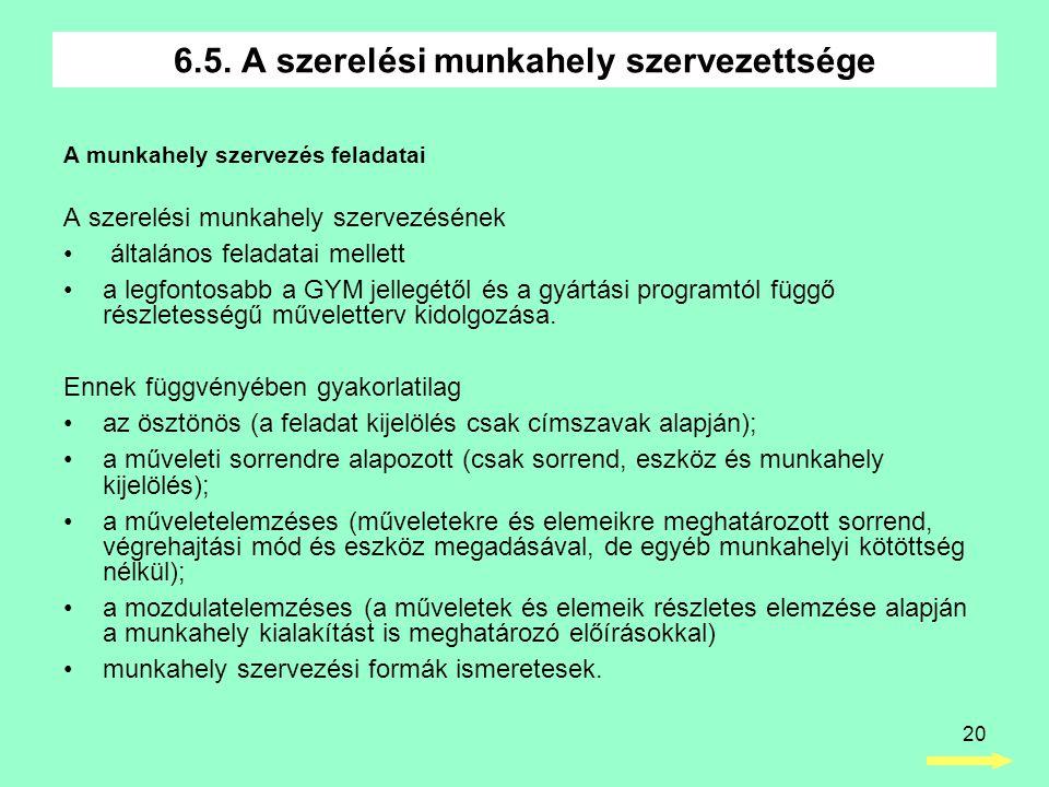 20 A munkahely szervezés feladatai A szerelési munkahely szervezésének • általános feladatai mellett •a legfontosabb a GYM jellegétől és a gyártási pr