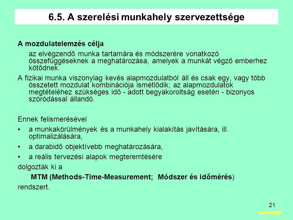 21 A mozdulatelemzés célja az elvégzendő munka tartamára és módszerére vonatkozó összefüggéseknek a meghatározása, amelyek a munkát végző emberhez köt