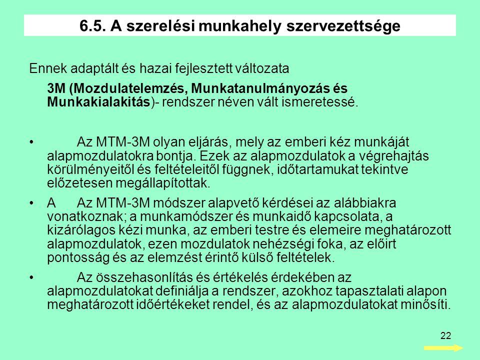 22 Ennek adaptált és hazai fejlesztett változata 3M (Mozdulatelemzés, Munkatanulmányozás és Munkakialakitás)- rendszer néven vált ismeretessé.