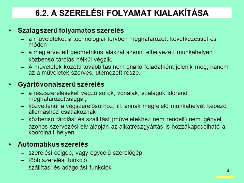 4 6.2. A SZERELÉSI FOLYAMAT KIALAKÍTÁSA •Szalagszerű folyamatos szerelés –a műveleteket a technológiai tervben meghatározott következéssel és módon –a