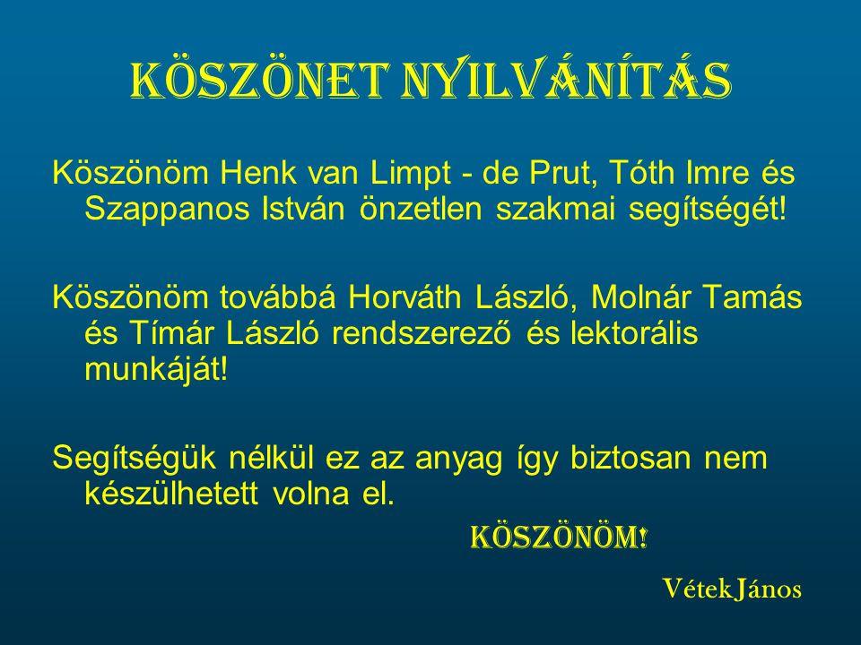 Köszönet nyilvánítás Köszönöm Henk van Limpt - de Prut, Tóth Imre és Szappanos István önzetlen szakmai segítségét.