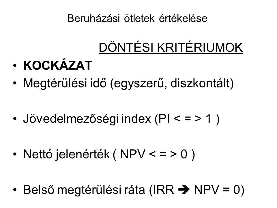 Beruházási ötletek értékelése DÖNTÉSI KRITÉRIUMOK •KOCKÁZAT •Megtérülési idő (egyszerű, diszkontált) •Jövedelmezőségi index (PI 1 ) •Nettó jelenérték ( NPV 0 ) •Belső megtérülési ráta (IRR  NPV = 0)