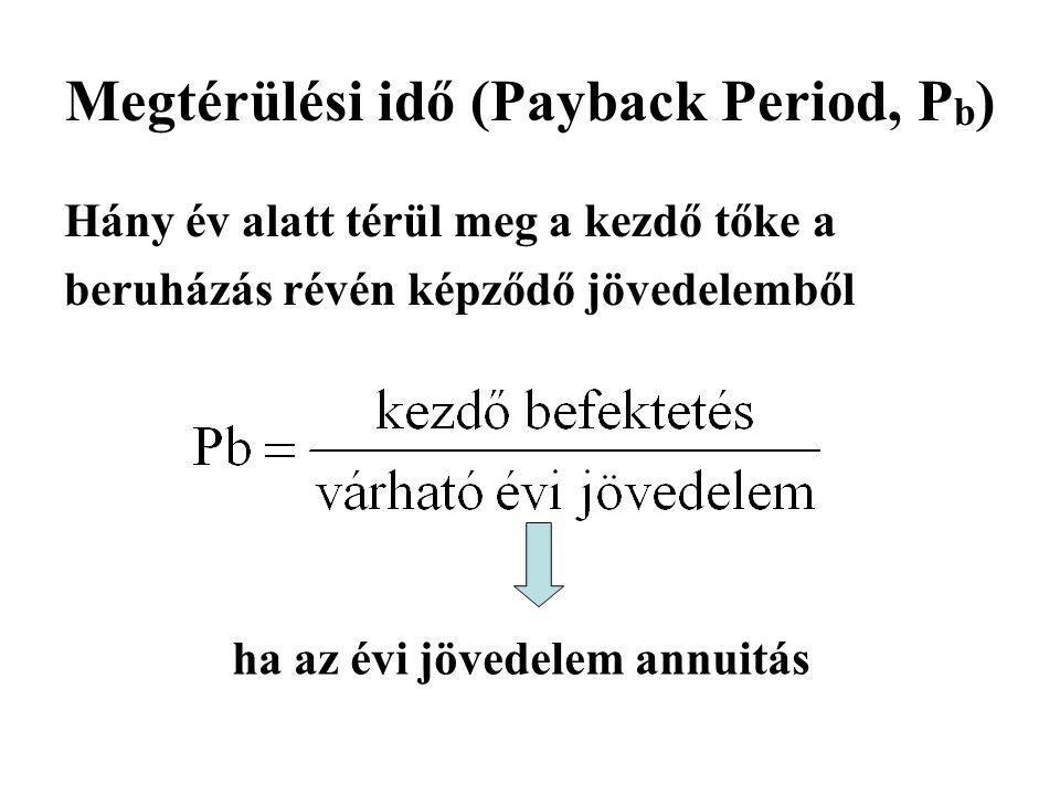 Megtérülési idő (Payback Period, P b ) Hány év alatt térül meg a kezdő tőke a beruházás révén képződő jövedelemből ha az évi jövedelem annuitás